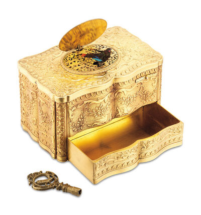 Breguet, 'A very rare and highly attractive gilt metal singing bird box with automated drawer and winding key', 1936