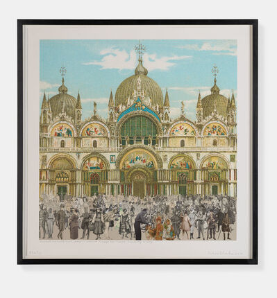 Peter Blake, 'Joseph Cornell's Holiday - Venice. Piazza San Marco. 'Stroking a dog'', 2018
