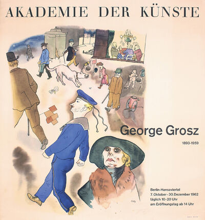 George Grosz, 'Akademie der Künste by George Grosz. Rare Vintage Exhibition Poster', 1962