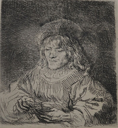 Rembrandt van Rijn, 'The Card Player (Homme Qui Joue Aux Cartes) ', Etched in 1641, Printed in 1906 (Beaumont, Paris)