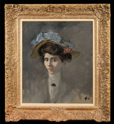 Jean-Louis Forain, 'Young Lady with Hat decorated with cherries'