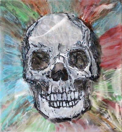 Philippe Buil, 'Vanity painting - skull Wall Sculpture steel painting and inks', 2021