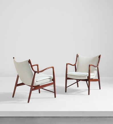 Finn Juhl, 'Pair of lounge chairs, model no. FJ 45', designed 1945