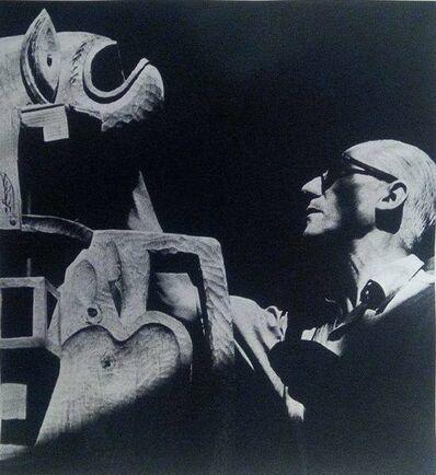 Lucien Hervé, 'Le Corbusier devant sa sculpture, Boulogne', 1950