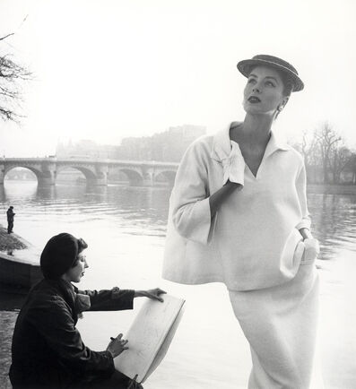 Louise Dahl-Wolfe, 'Suzy Parker in Balenciaga along the Seine, Paris', 1953