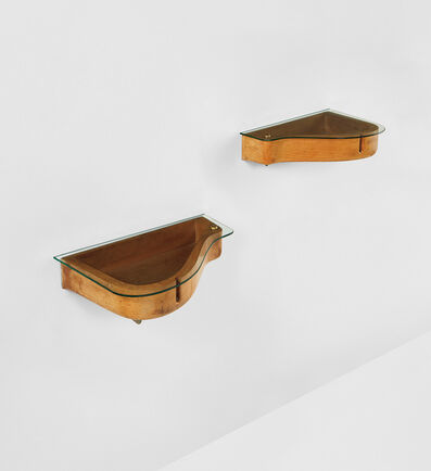 Carlo Mollino, 'Unique pair of wall-mounted bedside tables from Casa Orengo, Turin', circa 1949