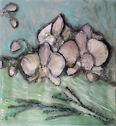 Philippe Buil, 'Orchid painting - Wall sculpture steel painting and inks', 2021