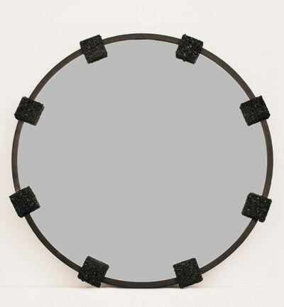 Samuel Amoia, 'Circular mirror with 8 evenly spaced square clasps in Tourmaline and black metal', 2016