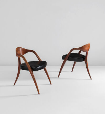 "Wendell Castle, 'Pair of ""three-legged"" chairs', 1981"
