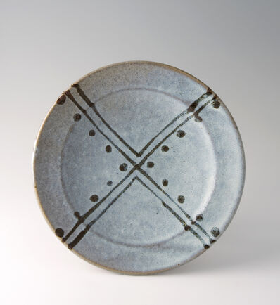 Shinsaku Hamada, 'Plate, white glaze with tensue decoration'
