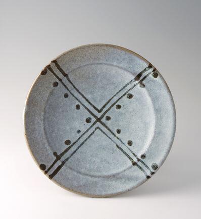 Shinsaku Hamada, 'Plate, white glaze with tensue decoration'