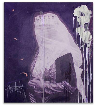 Firouz Farmanfarmaian, 'A Women with a Veil in Purple (Panel I)', 2017