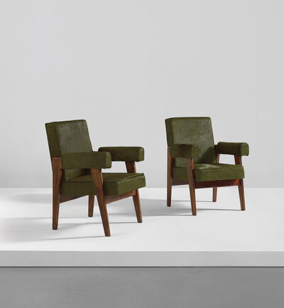 "Pierre Jeanneret, 'Pair of ""Advocate and Press"" armchairs, model no. LC/PJ-SI-41-A', circa 1955"