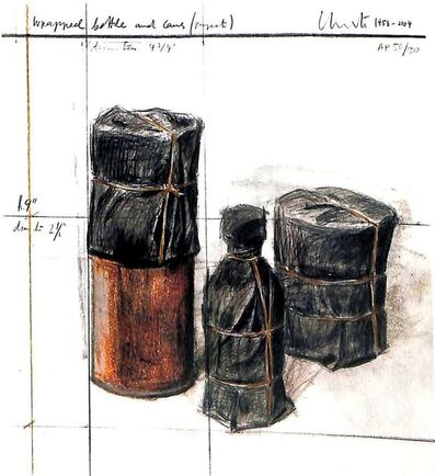 Christo, 'Wrapped Bottle and Cans, Project', 2004