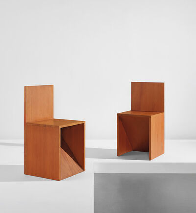 "Donald Judd, '""Forward Slant Chair 84"" and ""Backward Slant Chair 84""', designed 1982-executed 1987"