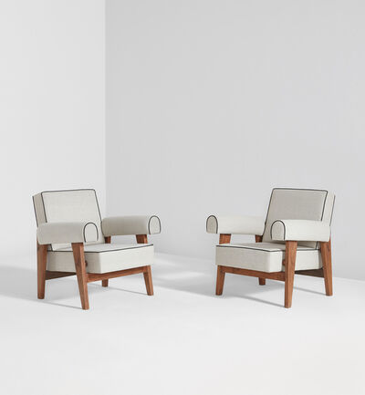 Le Corbusier, 'Pair of armchairs, model no. LC/PJ-SI-42-A, designed for the High Court and Assembly, Chandigarh', 1955-1956
