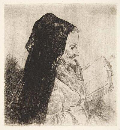Joseph Stella, 'PORTRAIT OF AN OLD WOMAN READING', circa 1900