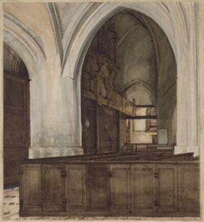 François Bonvin, 'Interior of Abbey of Aramont', 1869