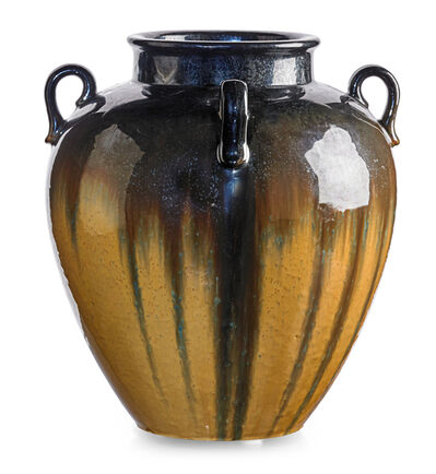 Fulper Pottery, 'Large four-handled vase, Cat's Eye flambé glaze, Flemington, NJ', 1920s