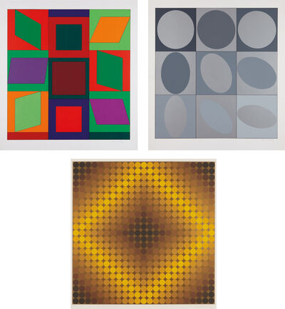 Victor Vasarely, 'Lapidaire: two prints; and Diaf: one print', 1968