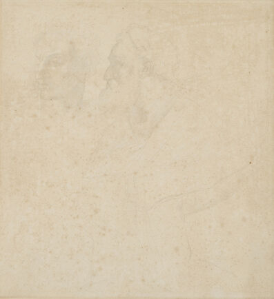 Alphonse Legros, 'Two faces, after Michangelo'