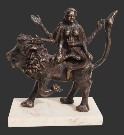 "Seema Kohli, 'Hindu Goddess seated on Lion, Mythology, Bronze Sculpture, Brown by Seema Kohli ""In Stock""', 2018"