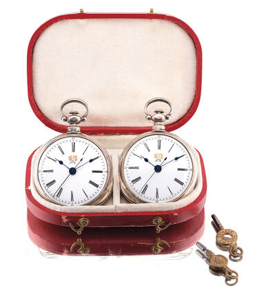 Bovet, 'A very fine and rare matching pair of silver openface pocket watches with center seconds and original fitted presentation case and winding keys', Circa 1890