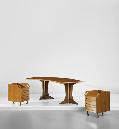 Franco Albini, 'Unique desk and pair of drawer units, designed for the study of Casa F., Milan', circa 1956