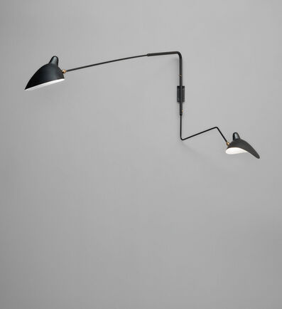 """Serge Mouille, 'Two-arm angled wall light with one """"Lampadaire"""" and one """"Casquette"""" shade', circa 1954"""