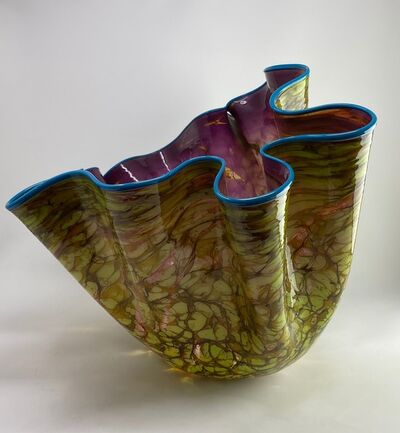 Dale Chihuly, 'Dale Chihuly Wisteria Violet Macchia with Eucalyptus Lip Wrap Handblown Glass', 1996