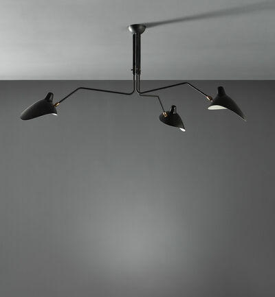 "Serge Mouille, 'Three-armed adjustable ceiling light with ""Casquette"" shades', circa 1958"