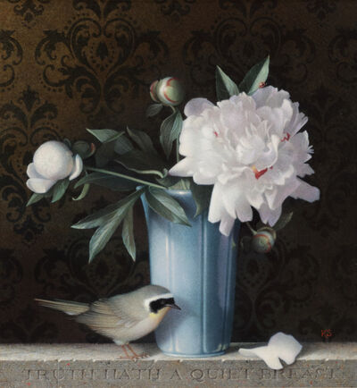 Koo Schadler, 'Peonies and Common Yellowthroat', 2015