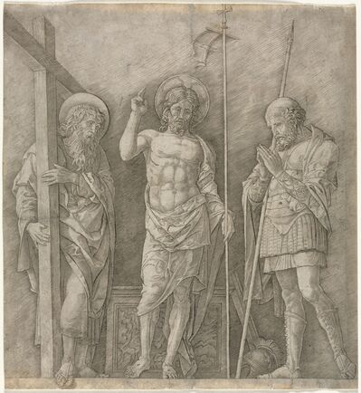 Andrea Mantegna, 'The Risen Christ between St Andrew and Longinus', early 1470s