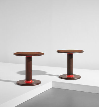 "Ettore Sottsass, 'Pair of ""Rocchettone"" side tables, model no. T. 44', circa 1965"