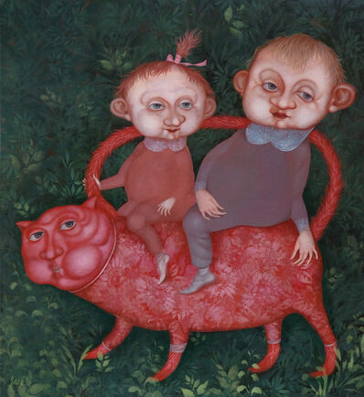 Evgenia Saré, 'Walk with a red cat', 2015