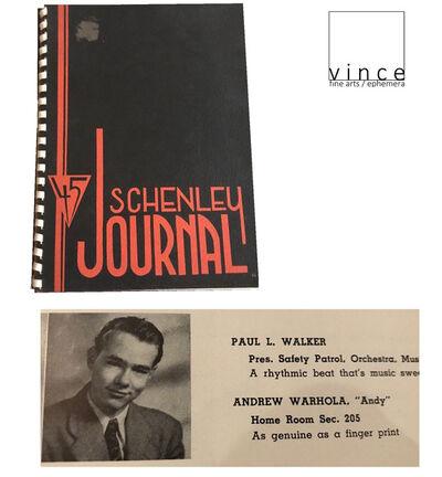 """Andy Warhol, '""""Schenley Journal-45"""", Schenley Senior High School Yearbook Pittsburg, 1945,  First Edition.', 1945"""