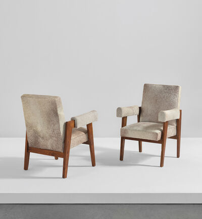 "Pierre Jeanneret, 'Pair of ""Advocate and Press"" armchairs, model no. LC/PJ-SI-41-A, designed for the High Court, Chandigarh', circa 1955"