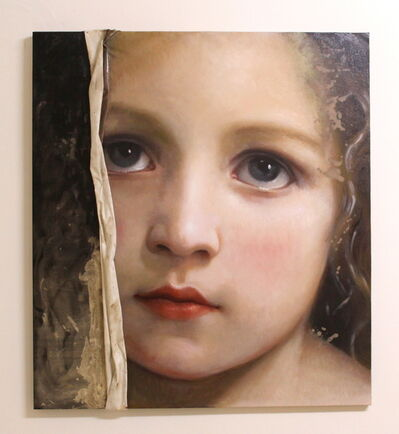Francesco Minuti, 'Portrait of young girl, oil painting: 'THE VEIL OF MAYA'', 2020