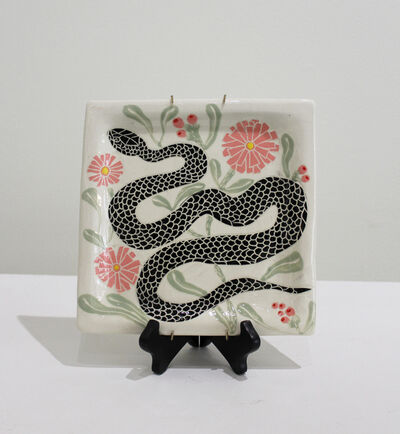 Abbey Kuhe, 'Snake & Pink Flowers Plate', 2020