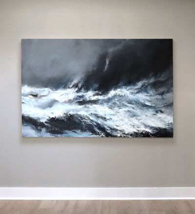 Janette Kerr, 'Sea state force 10 - Waves breaking on the Clett, Silwick, 2020 oil on canvas ', 2020