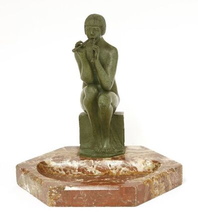 After Alex Kelety, 'A patinated bronze nude figure playing pan pipes'