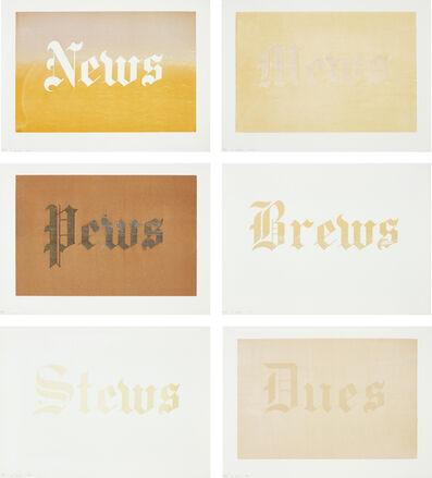 Ed Ruscha, 'News, Mews, Pews, Brews, Stews & Dues', 1970