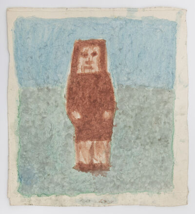James Castle, 'Untitled (Brown figure with blue and green)', n.d.
