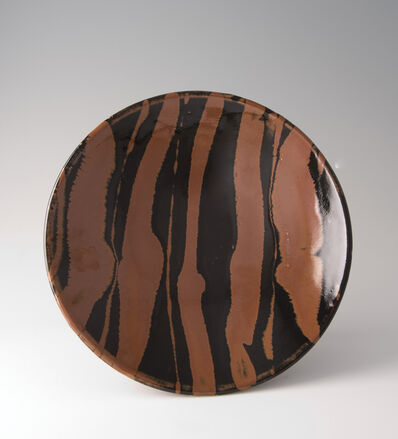 Shōji Hamada, 'Plate, black and kaki glaze with trailed decoration', ca. 1970