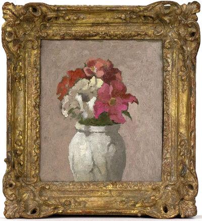 Robert Kulicke, 'Double Petunias and Impatiens in White Ceramic Vase', 1991