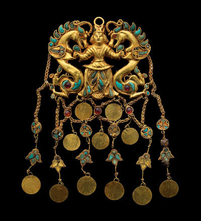 'A pair of pendants showing the 'Dragon Master' Tillya Tepe, Tomb II', 1st century AD