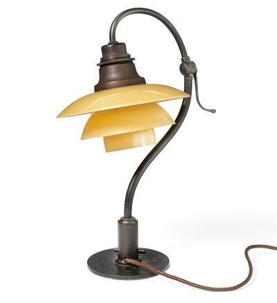 Poul Henningsen, 'PH-2/2 Question Mark. Adjustable miniature table lamp with browned metal frame. Socket and switch house of brown bakelite, mounted with yellow/frosted glass shades.'