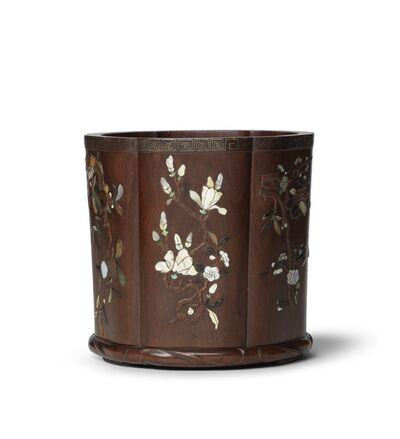 Unknown, 'Huanghuali brush pot with mother-‐of-‐pearl inlay', 18th century