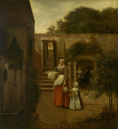 Pieter de Hooch, 'Woman and Child in a Courtyard', 1658/1660