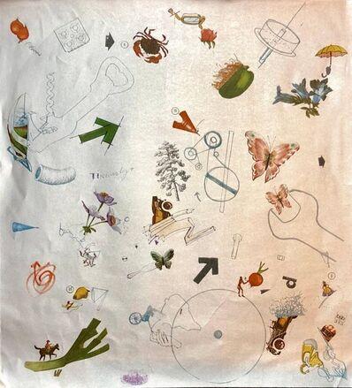 Jean Tinguely, 'Screenprint Offset Lithograph Vintage Wallpaper Segment 1970s Surrealist Silver', 20th Century